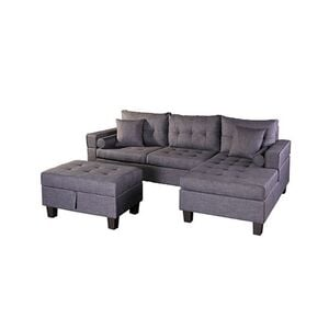 Home Deluxe Polsterecke Rom Sofa links, mit Hocker