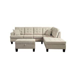Home Deluxe Polsterecke Florenz Sofa links, mit Hocker