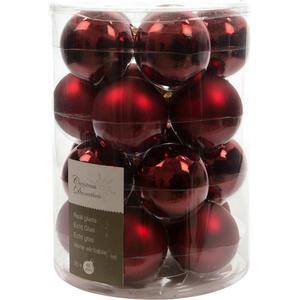 X-Mas Christbaumkugel-set 20-teilig rot , 140278 , Glas , Weihnachten , 6 cm Schubladen , glänzend, matt , 003754116707