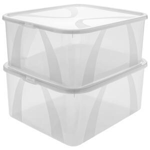 Rotho Box mit deckel , 1119800096Lz , Transparent , Kunststoff , 35x17x42 cm , Deckel abnehmbar , 003294028801