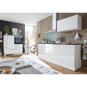 Carryhome Küchenblock in weiß e-geräte, spüle, geschirrspüler , 'Jazz 4+E' _ 3 Schubladen , 200+120 cm , Hochglanz,Nachbildung , 001279000701