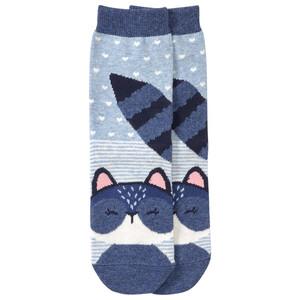 1 Paar Mädchen Socken mit Waschbär-Motiv