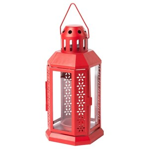 VINTER 2020 Laterne für Teelicht, drinnen/draußen rot