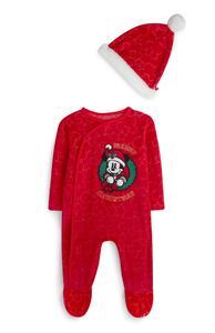 """Roter """"Micky Maus"""" Schlafanzug und Mütze aus Samt für Babys"""