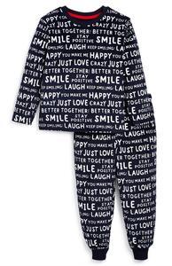 Schwarz-weißer Pyjama mit positivem Slogan