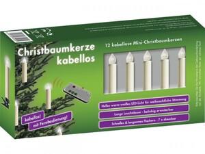 Krinner Christbaumkerze 12er Mini mit Fernbedienung, elfenbein