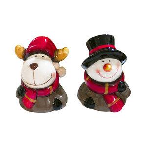 Bella Casa Keramik-Weihnachtsfigur mit Glocke, Schneemann & Elch - 2er-Set