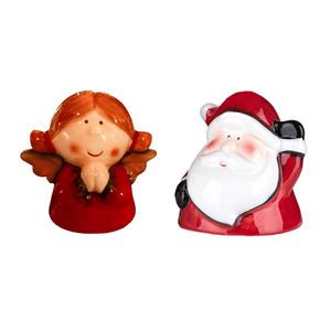 Bella Casa Keramik-Weihnachtsfigur mit Glocke, Weihnachtsmann & Engel - 2er-Set