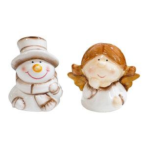 Bella Casa Keramik-Weihnachtsfigur mit Glocke, Schneemann & Engel - 2er-Set