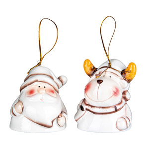 Bella Casa Keramik-Weihnachtsfigur mit Glocke, Weihnachtsmann & Elch - 2er-Set