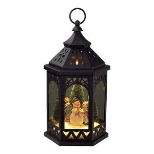 LED-Laterne mit rotierender Winterszene, ca. 18x18x35cm