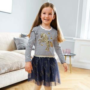 Kinder-Mädchen-Kleid mit Navy-Streifen