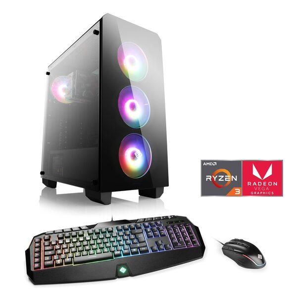 CSL Levitas T8118 Windows 10 Home Gaming-PC (AMD Ryzen 3, Radeon Vega 8, 16 GB RAM, 1000 GB SSD, AMD Ryzen 3 3200G, Vega 8, 16 GB RAM, SSD)