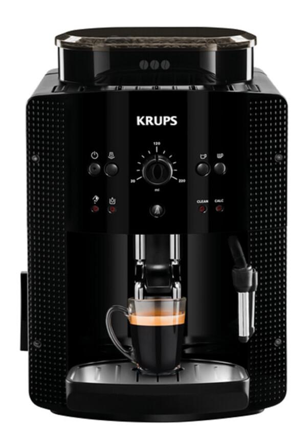 KRUPS Kaffeevollautomat EA 81R8 Arabica schwarz (Metall-Brühgruppe, Reinigungs-Programm, Entkalkungs-Programm, Milchdüse, Cappuccino)