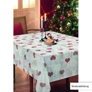 Casa Royale Wachstuch-Tischdecke, ca. 100 x 140 cm - Rote Herzen auf grauem Holz