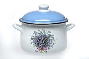 acerto® Emaillierter Topf mit Deckel für alle Herdarten Induktion weiß/blau Flower 5,5 L