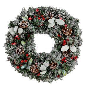 Weihnachts-Dekokranz mit Tannengrün und Zapfen 37cm