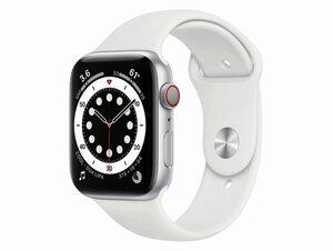 Apple Watch Series 6, Cellular, 44 mm, Aluminum silber, Sportarmband weiß