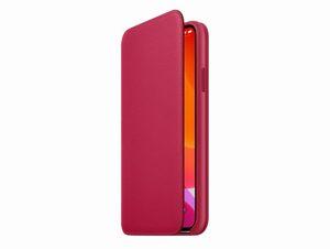 Apple Leder Folio Case, für iPhone 11 Pro Max, himbeere
