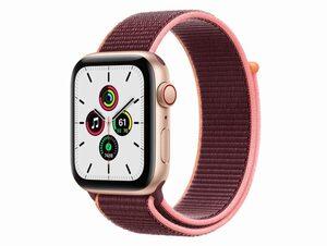 Apple Watch SE, GPS & Cellular, 44 mm, Aluminium gold, Sport Loop Pflaume