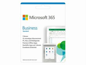 Microsoft Office 365 Business Standard, 1-Jahres-Software-Lizenz, Key Card