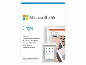 Microsoft Office 365 Single, 1-Jahres-Software-Lizenz, Key Card