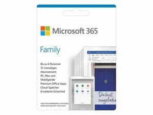 Microsoft Office 365 Family, 1-Jahres-Software-Lizenz, Key Card