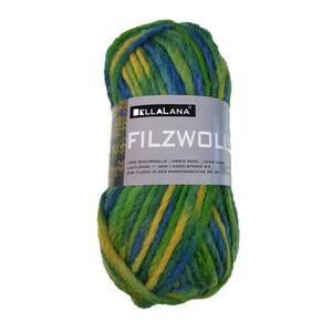 Filzwolle BellaLana grün-blau-gelb