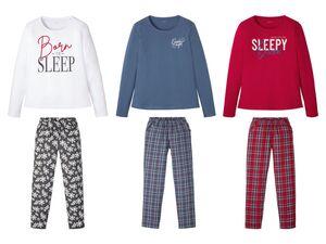 ESMARA® Pyjama Damen, mit Rundhalsausschnitt, Print