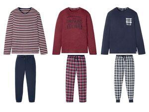 LIVERGY® Pyjama Herren, mit Eingrifftaschen, Flanellhose