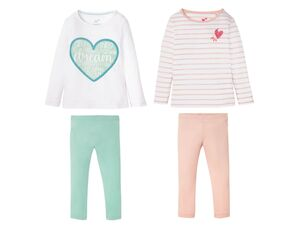 LUPILU® Kleinkinder Pyjama Mädchen, 2 Stück, mit Print