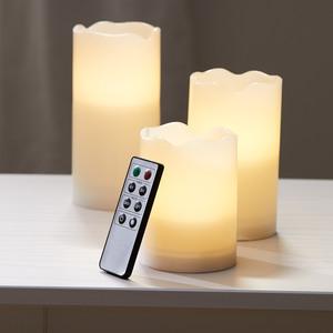 3er-Set LED-Kerzen KRISTJAN (cremeweiß, mit Fernbedienung)