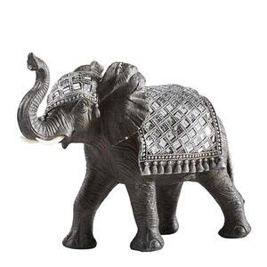 Ambia Home Dekoelefant , Ny9007600 , Silberfarben, Dunkelgrau , Kunststoff , Elefant , 36.5x27x15.5 cm , lackiert , stehend, zum Stellen , 0083060245