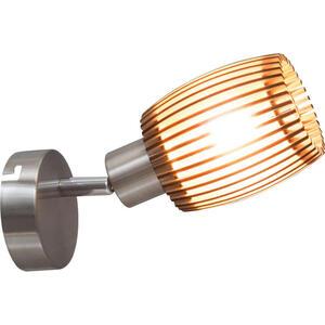 XXXLutz Wandleuchte , 81040146 Parkey , Eichefarben , Metall, Holzwerkstoff , vernickelt , 007796023701