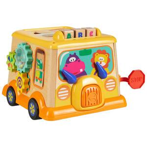 My Baby Lou Sortierbox , Sortierbox Schulbus , Gelb, Multicolor, Naturfarben , Holz, Kunststoff , Teakholz, Schima , 25.6x21.1x19.5 cm , lackiert,glänzend,Nachbildung, teilmassiv , Geräuscheffekte,