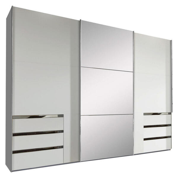 Livetastic Schwebetürenschrank 3-türig weiß , Level 36A 300Cm Weiss/spiegel , Holzwerkstoff , 6 Schubladen , 300x216x65 cm , Nachbildung , umfangreiches Zubehör erhältlich, in verschiedenen Grö