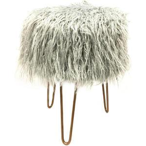 Ambia Home Hocker webpelz kiefer grau , 019-51-1840-Grey , Holz, Textil , Hartholz , Uni , 42 cm , pulverbeschichtet,Natur,Webpelz,Echtholz, Nachbildung , 003124011804