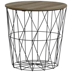 Ambia Home Beistelltisch rund naturfarben, schwarz , 919281 , Holz, Metall , 40x41x40 cm , matt,Natur,Nachbildung , abnehmbares Tablett , 0063690002