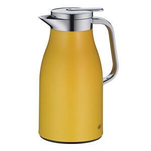 Alfi Isolierkanne 1,0 l , 1321.295.100 , Gelb , Metall , Uni , matt, lackiert , doppelwandig, Ausgießer, lebensmittelecht, 100% dicht, Glaskolben, abnehmbarer Deckel, Schraubverschluss, hält warm,