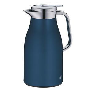 Alfi Isolierkanne 1,0 l , 1321.296.100 , Blau , Metall , Uni , matt, lackiert , doppelwandig, Ausgießer, lebensmittelecht, 100% dicht, Glaskolben, abnehmbarer Deckel, Schraubverschluss, hält warm,