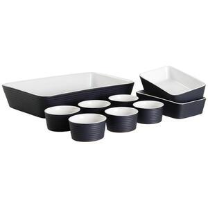 Homeware Profession. Auflaufformenset keramik steinzeug 9-teilig , Perfect Cooking , Schwarz, Weiß , lackiert , backofengeeignet, mikrowellengeeignet,backofengeeignet, mikrowellengeeignet , 00724900
