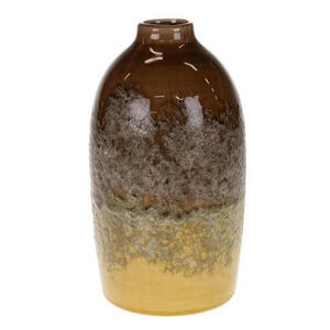 XXXLutz Dekovase , 41960-475 , Braun, Gelb , Keramik , 23 cm , lackiert , 008881001201