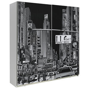 XXXLutz Schwebetürenschrank 2-türig schwarz, weiß , Plakato City 170,3 Cm , Holzwerkstoff , Nachbildung , 000687037202