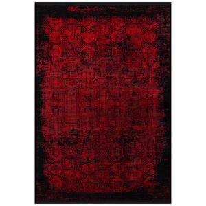 Dieter Knoll Vintage-teppich 200/290 cm rot, schwarz , Castello Colour M240H-314 , Textil , Abstraktes , 200x290 cm , Hochflor , für Fußbodenheizung geeignet, in verschiedenen Größen erhältlich,