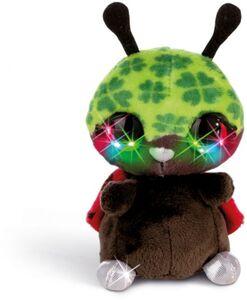 NICIdoos Flashies Kuscheltier - Marienkäfer Luckymacky mit LED Augen - 12 cm