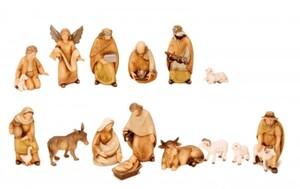 Riffelmacher Krippenfiguren Holzlook ,  12-15 cm, 15 teilig