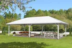 SKAN HOLZ Pavillon Orleans ,  Größe 4, 569 x 1046 cm, 4-Eck, Lasiert in weiß