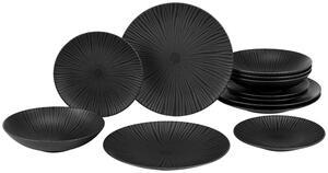 Tafelservice Black aus Steingut, 12-teilig