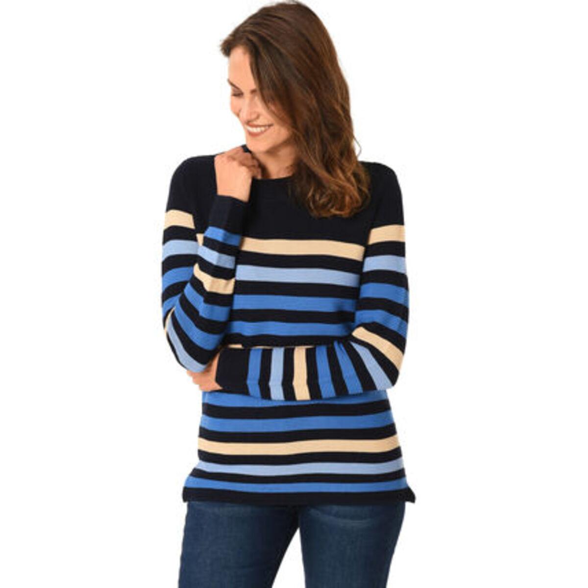 Bild 1 von Adagio Pullover, Baumwoll-Mix, Rundhalsausschnitt, Streifen-Muster, für Damen