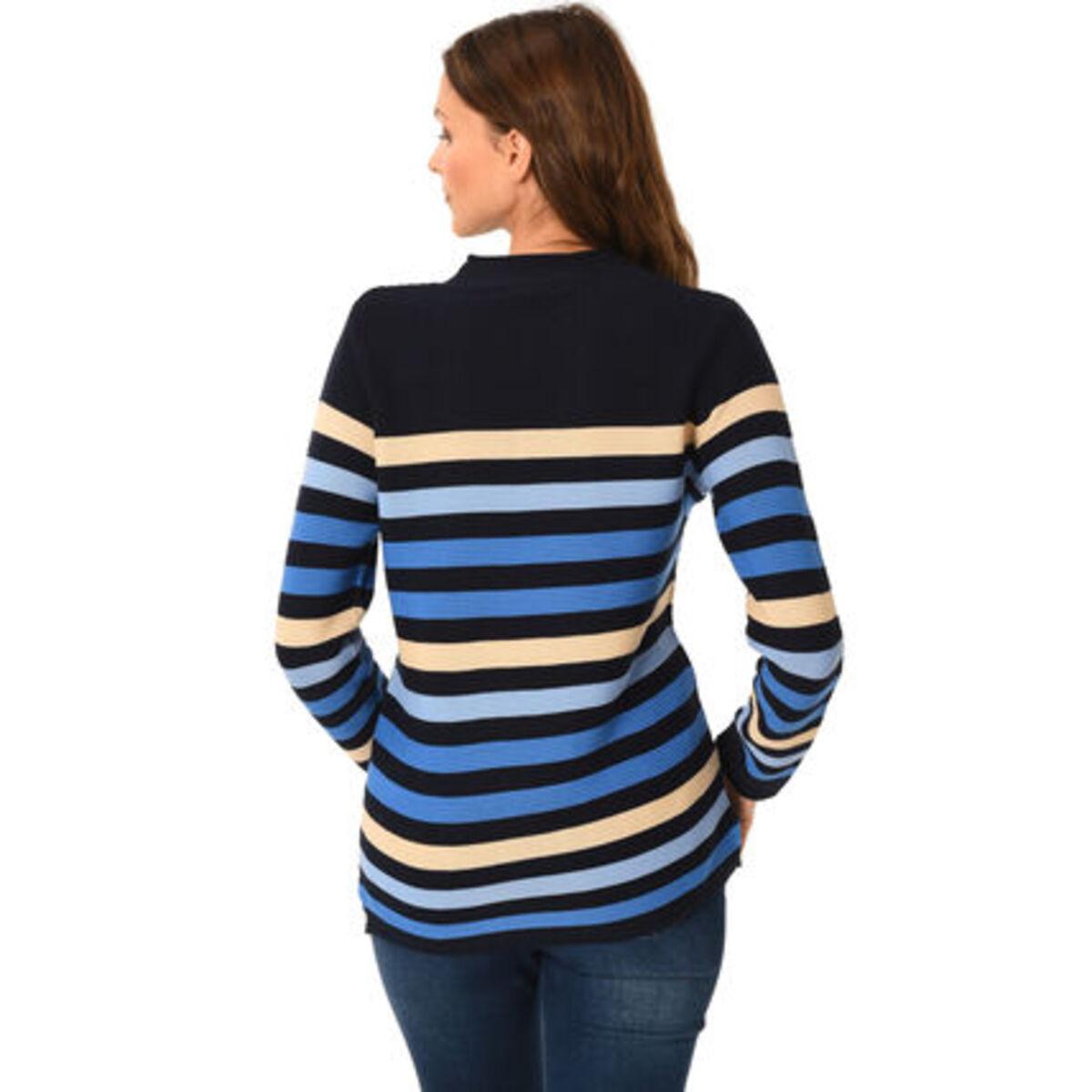 Bild 2 von Adagio Pullover, Baumwoll-Mix, Rundhalsausschnitt, Streifen-Muster, für Damen